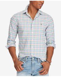 487ced650 ... canada polo ralph lauren mens slim fit stretch oxford shirt lyst d22d7  86d38