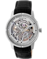 Heritor - Automatic Ryder Black & Silver & Black Leather Watches 44mm - Lyst