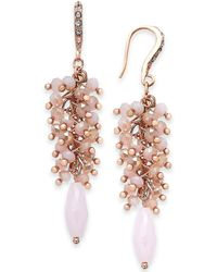 INC International Concepts | I.n.c. Rose Gold-tone Shaky Bead & Stone Drop Earrings, Created For Macy's | Lyst