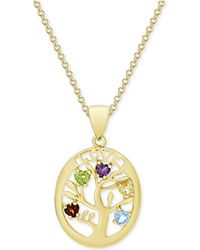 "Macy's - Multi-gemstone Tree Of Life 18"" Pendant Necklace (3/4 Ct. T.w.) In 18k Gold-plated Sterling Silver - Lyst"