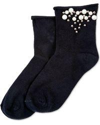 Hue - ® Imitation-pearl Roll-top Socks - Lyst