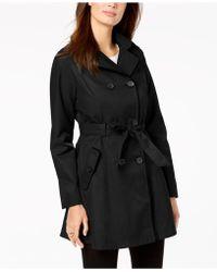 Laundry by Shelli Segal - Hooded Velvet-trim Trench Coat - Lyst