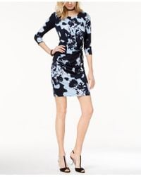 INC International Concepts - Petite Printed Twist-front Sheath Dress - Lyst