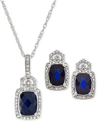Macy's - Lab Created Sapphire (3-1/2 Ct. T.w.) & White Sapphire (3/4 Ct. T.w.) Pendant Necklace & Stud Earrings In Sterling Silver - Lyst