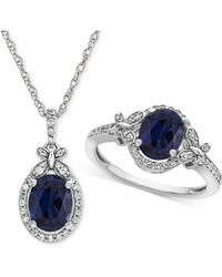 Macy's | Lab Created Sapphire (2-1/2 Ct. T.w.) & White Sapphire (3/4 Ct. T.w.) Pendant Necklace & Ring In Sterling Silver | Lyst