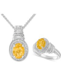 Macy's - Citrine (2-1/10 Ct. T.w.) & Diamond Accent Pendant Necklace And Matching Ring In Sterling Silver - Lyst