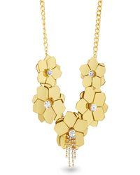 Catherine Malandrino - White Rhinestone Flower Yellow Gold-tone Statement Necklace - Lyst