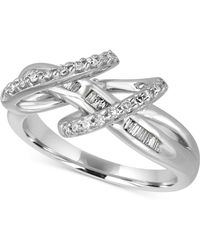 Macy's - Diamond Double Loop Ring (1/3 Ct. T.w.) In Sterling Silver - Lyst