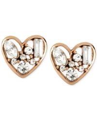 Betsey Johnson - Rose Gold-tone Crystal Heart Stud Earrings - Lyst