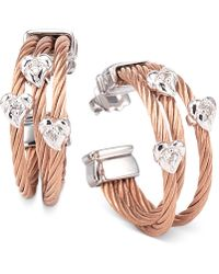 Charriol - Women's Malia White Topaz-accent Two-tone Pvd Stainless Steel Cable Hoop Earrings - Lyst