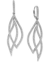 Danori - Pavé Crystal Leaf Earrings - Lyst