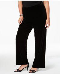 Alex Evenings - Plus Size Velvet Wide-leg Trousers - Lyst