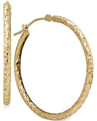 Macy's - Round Tube Hoop Earrings In 10k Gold, 1 1/5 Inch - Lyst