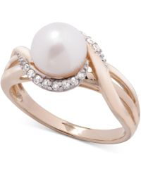 Macy's - Cultured Freshwater Pearl (7mm) & Diamond (1/10 Ct. T.w.) Ring In 14k Gold - Lyst