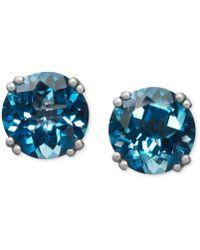Macy's - 14k White Gold Earrings, London Blue Topaz Stud Earrings (4-1/2 Ct. T.w.) - Lyst