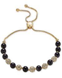 Charter Club - Gold-tone Pavé Bead & Jet Imitation Pearl Slider Bracelet, Created For Macy's - Lyst