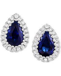 Macy's - Sapphire (9/10 Ct. T.w.) & Diamond (1/8 Ct. T.w.) Stud Earrings In 14k White Gold - Lyst
