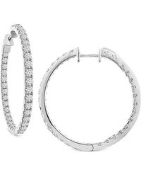 Macy's - Diamond In And Out Hoop Earrings (7 Ct. T.w.) In 14k White Gold - Lyst