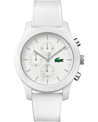 953f4ca5c Lacoste 12.12 Chronograph Petit Pique Silicone-strap Watch in White for Men  - Lyst