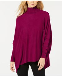 Alfani - Petite Turtleneck Poncho Sweater, Created For Macy's - Lyst