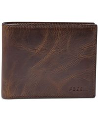 bd352ca98fa9 Fossil - Leather Wallet Derrick Rfid-blocking Bifold With Flip Id - Lyst