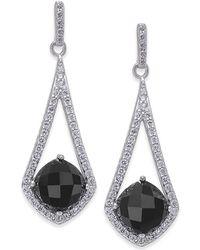 Macy's - Onyx (8 X 8mm) And Swarovski Zirconia Drop Earrings In Sterling Silver - Lyst