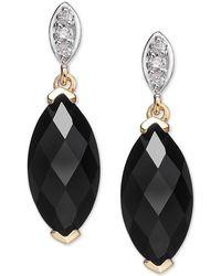Macy's - Onyx (12 X 6mm) & Diamond Accent Drop Earrings In 14k Gold - Lyst