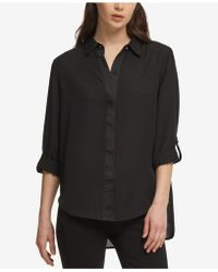 DKNY - High-low Roll-tab-sleeve Shirt, Created For Macy's - Lyst