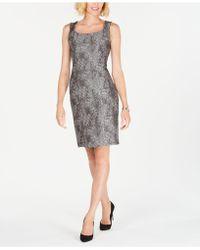 Kasper - Metallic Jacquard Sheath Dress - Lyst