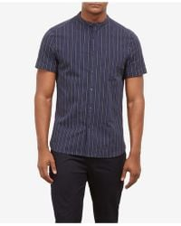 Kenneth Cole - Striped Band Collar Shirt - Lyst