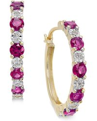 Macy's - Ruby (3/4 Ct. T.w.) And Diamond Accent Hoop Earrings In 14k Gold (also Emerald And Sapphire - Lyst