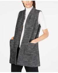 Eileen Fisher - Organic Cotton Open-front Pocket Vest - Lyst