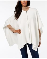 DKNY - Ribbed-knit Zip Poncho, Created For Macy's - Lyst