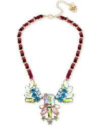 Betsey Johnson - Gold-tone Multi-stone Shooting Star & Woven Burgundy Velvet Ribbon Statement Necklace - Lyst