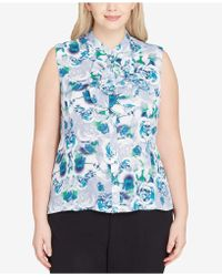Tahari - Plus Size Printed Ruffled Button-front Shell - Lyst