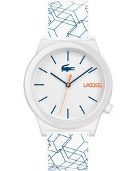 Lacoste - Motion White Printed Silicone Strap Watch 41mm - Lyst