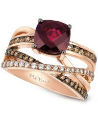 Le Vian - Raspberry Rhodolite Garnet (2-3/4 Ct. T.w.) And Chocolate And White Diamond (3/4 Ct. T.w.) Ring In 14k Rose Gold - Lyst