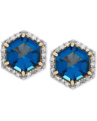 Macy's - London Blue Topaz (2 Ct. T.w.) & Diamond (1/5 Ct. T.w.) Stud Earrings In 14k Gold - Lyst