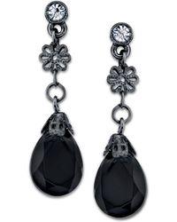 2028 - Black-tone Black Crystal Briolette Drop Earrings - Lyst