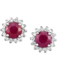 Macy's - Ruby (1-1/4 Ct. T.w.) & Diamond (1/5 Ct. T.w.) Flower Stud Earrings In 14k White Gold - Lyst