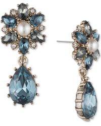 Marchesa - Gold-tone Crystal, Stone & Imitation Pearl Double Drop Earrings - Lyst