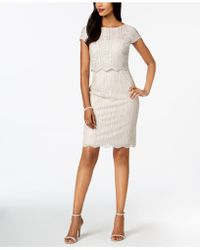 Adrianna Papell - Sequined Lace Popover Dress - Lyst
