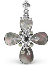 Carolyn Pollack - Grey Mother Of Pearl And Milti Gemstone Pendant Enhancer In Sterling Silver - Lyst