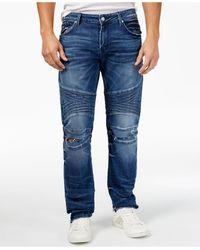 Guess - Men's Skinny-fit Moto Antique Blue Jeans - Lyst