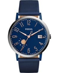 Fossil - Women's Vintage Muse Blue Leather Strap Watch 40mm Es4107 - Lyst
