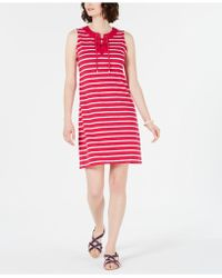 619ec98045560d Charter Club - Striped Lace-up Dress, Created For Macy's - Lyst