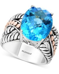Effy Collection - Balissima By Effy® Blue Topaz Statement Ring (10-5/8 Ct. T.w.) In Sterling Silver & 18k Rose Gold - Lyst