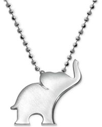 Alex Woo - Little Luck By Elephant Pendant Necklace In Sterling Silver - Lyst