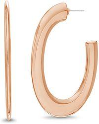 Catherine Malandrino - Polished Round Edge Rose Gold-tone Open Hoop Earrings - Lyst