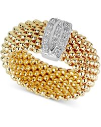 Macy's - Diamond Mesh-look Statement Ring (1/10 Ct. T.w.) In 14k Gold-plated Sterling Silver - Lyst